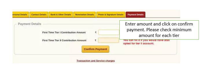 Making online payment while opening NPS account